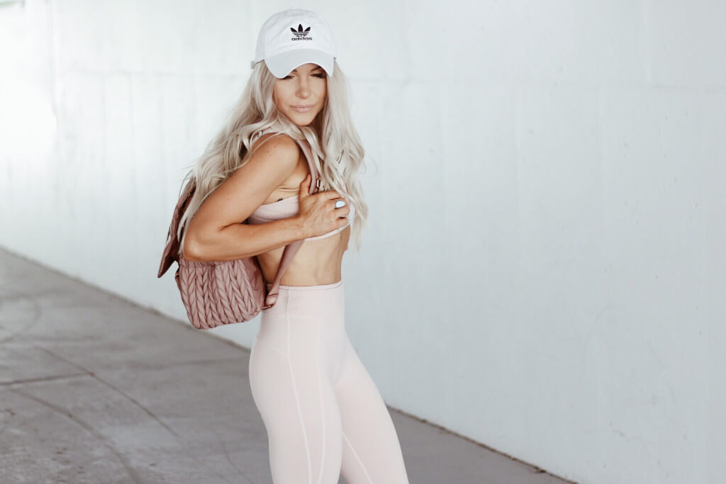 cute mom style pink athleisure