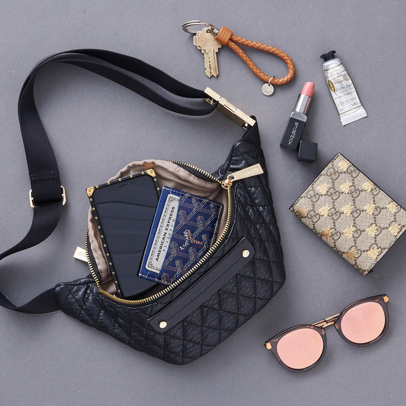 Fefe Fanny Pack Black - women's handbag, fashionable diaper bag, Baby, Babylist, Luggage & Bags > Designer Fanny Packs > Women - rose gold, blush, pink, diaper bags, changing pads, nappy bag,  HAPP - HAPP, Happ brand, happ diaper bags