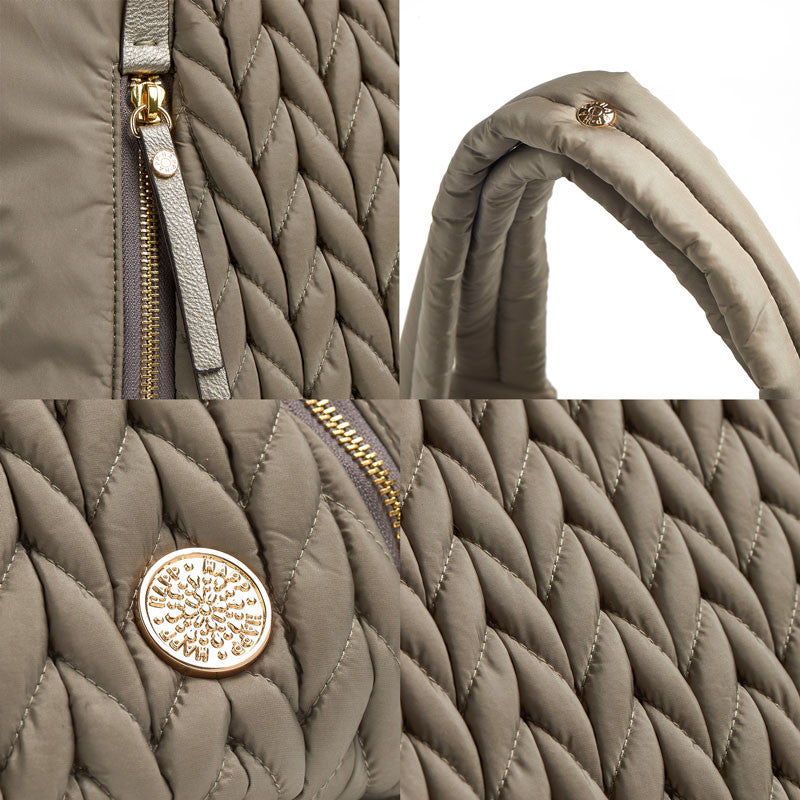 Anna Hobo Compact purse style diaper bag quilted herringbone nylon in taupe fabric detail