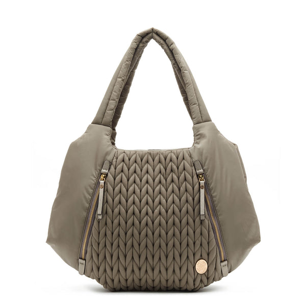 Anna Hobo Compact purse style diaper bag quilted herringbone nylon in taupe