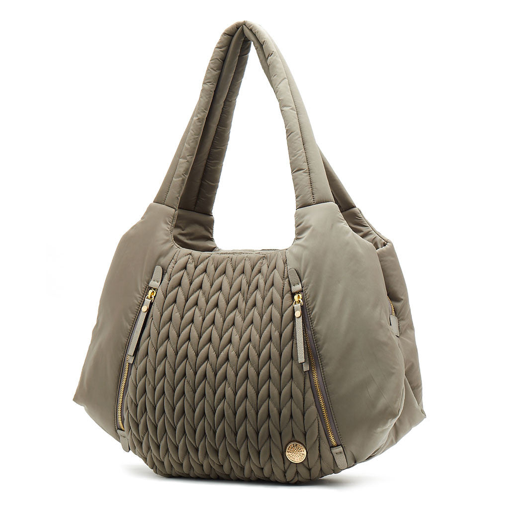 Anna Hobo Compact Taupe - women's handbag, fashionable diaper bag, Baby, Babylist, Baby & Toddler Accessories > Designer Diaper Bags > Small > Hobo - rose gold, blush, pink, diaper bags, changing pads, nappy bag,  HAPP - HAPP, Happ brand, happ diaper bags