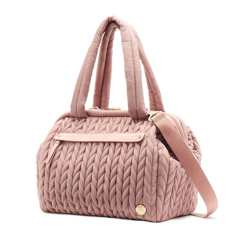 Paige Carryall purse handbag style diaper bag with quilted herringbone nylon in dusty rose blush pink with gold hardware with detachable messenger strap
