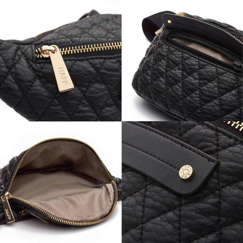 Fefe Fanny Pack diamond quilted faux leather in classic black with gold hardware fabric detail and inside