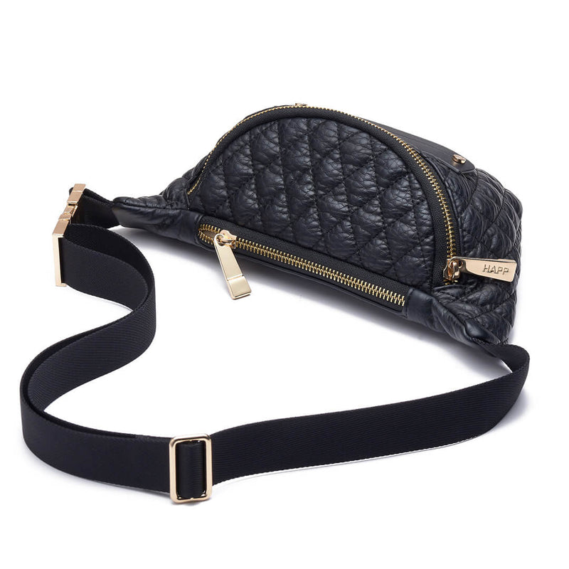 Fefe Fanny Pack diamond quilted faux leather diaper bag accessory in classic black with gold hardware