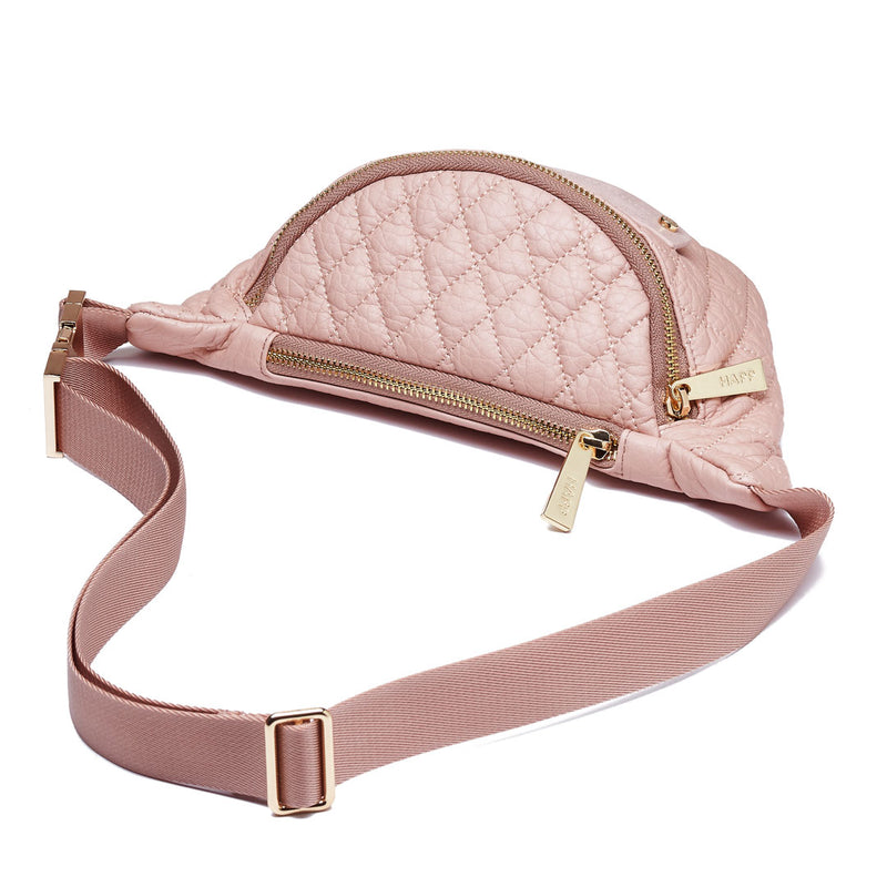 Fefe Fanny Pack diamond quilted faux leather diaper bag accessory in blush pink with gold hardware