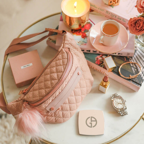 Limited Valentine's Edition Fefe Fanny Pack - Rose Gold - women's handbag, fashionable diaper bag, Baby, Babylist, Luggage & Bags > Designer Fanny Packs > Women - rose gold, blush, pink, diaper bags, changing pads, nappy bag,  HAPP - HAPP, Happ brand, happ diaper bags