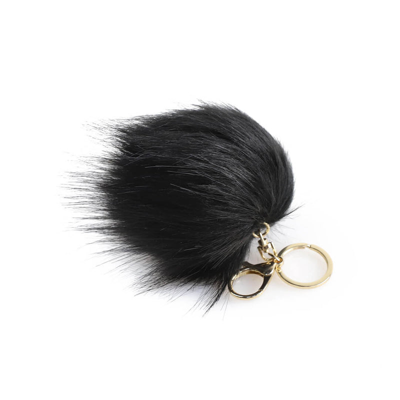 Faux Fur Pouf Keychain Black - women's handbag, fashionable diaper bag, Baby, Babylist,  - rose gold, blush, pink, diaper bags, changing pads, nappy bag,  HAPP - HAPP, Happ brand, happ diaper bags