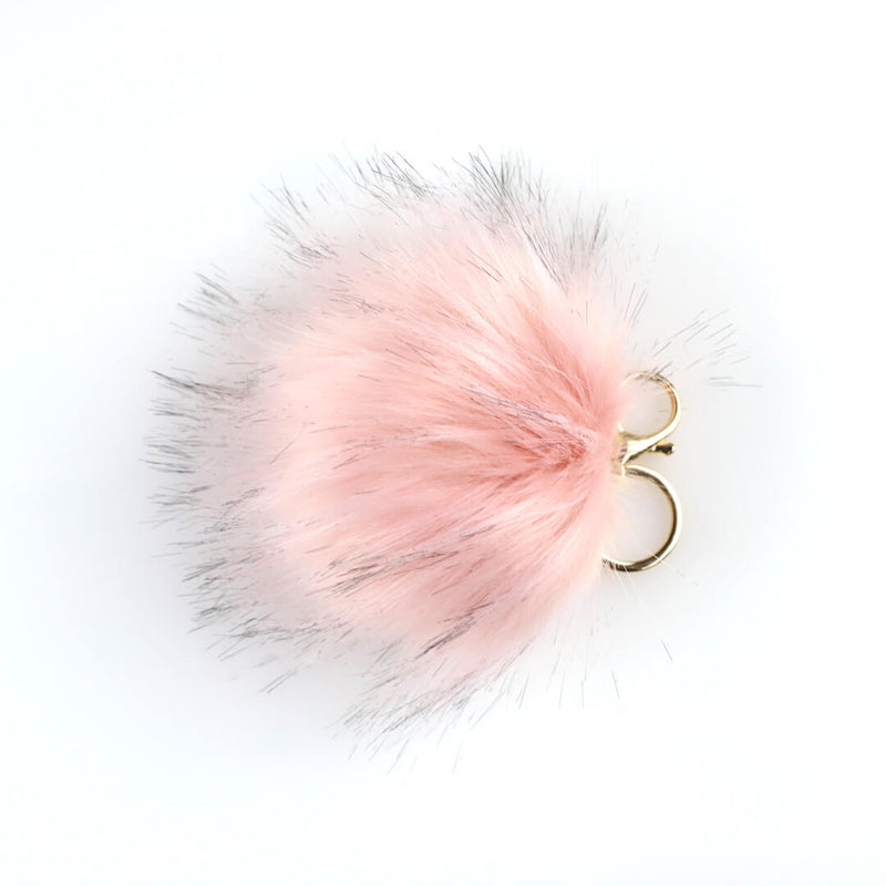 Faux fur pouf keychain in rose blush pink