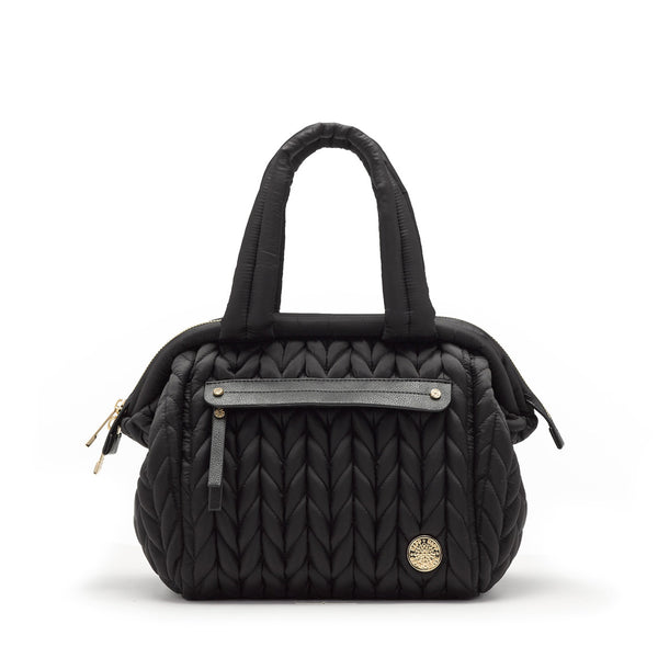 Paige mini purse small handbag style diaper bag in classic black quilted herringbone nylon with gold hardware