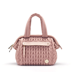 4f99b5fcb4 Paige mini purse small handbag style diaper bag in dusty rose blush pink  quilted herringbone nylon