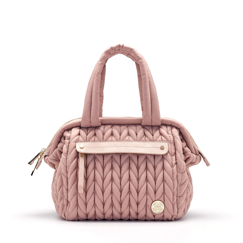 Paige mini purse small handbag style diaper bag in dusty rose blush pink quilted herringbone nylon with gold hardware