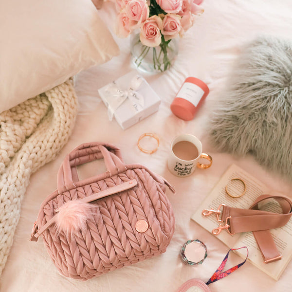 Limited Valentine's Edition Paige Mini - Rose Gold - women's handbag, fashionable diaper bag, Baby, Babylist, Baby & Toddler > Designer Diaper Bags - rose gold, blush, pink, diaper bags, changing pads, nappy bag,  HAPP - HAPP, Happ brand, happ diaper bags