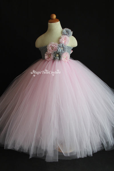 Lt. Pink and mixed grey silver vintage flower girl tutu dress wedding dress tulle dress birthday dress tea party dress