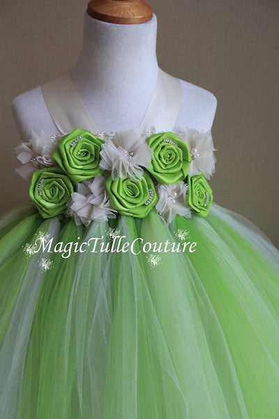 Lime Green and Ivory Flower Girl Tutu Dress for Weddings and Birthday Photoshoot, Toddler Tutu Dress, Magictullecouture