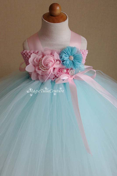 Baby Blue and Pink Flower Girl Tutu Dress for Weddings and Birthday Photoshoot, Toddler Tutu Dress, Magictullecouture