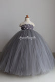 Grey Flower Girl Dress-2 rows flower- Tulle Dress Wedding Dress Toddler Dress