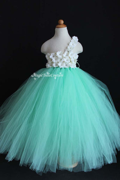 Ivory and Mint Hydrangea Flower Girl Tutu Dress for Weddings and Birthday Photoshoot, Toddler Tutu Dress, Magictullecouture