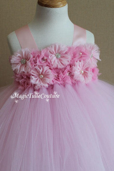Light Pink Flower Girl Tutu Dress for Weddings and Birthday Photoshoot, Toddler Tutu Dress, Magictullecouture
