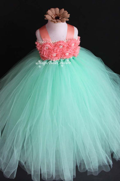 Mint and Peach Flower Girl Tutu Dress for Weddings and Birthday Photoshoot, Toddler Tutu Dress, Magictullecouture