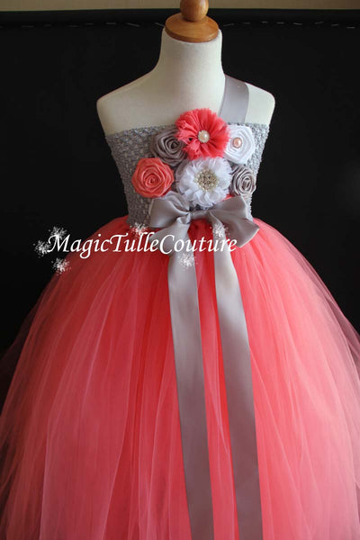 Coral and Grey Flower Girl Dress Tulle Dress Wedding Dress Toddler Dress