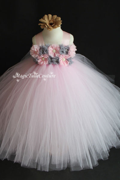 Light Pink and Grey Flower Girl Tutu Dress for Weddings and Birthday Photoshoot, Toddler Tutu Dress, Magictullecouture