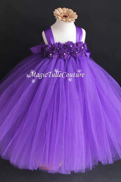 Purple Flower Girl Dress-Hydrangea Flowers-Tulle Dress Wedding Dress Toddler Dress, MagicTulleCouture