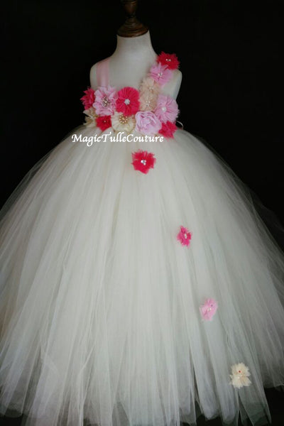 Hot Pink and Ivory Flower Girl Dress Tulle Dress Wedding Dress Toddler Dress