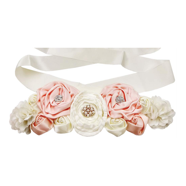 Ivory and Pink Maternity Pregnancy Sash Baby Shower Gift Photo Prop Girls Bridal Rhinestone Belt