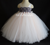 Blush and Grey Flower Girl Tutu Dress