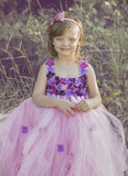 Lt. Pink and Purple Flower Girl Dress-Hydrangea Flowers-Tulle Dress Wedding Dress Toddler Dress