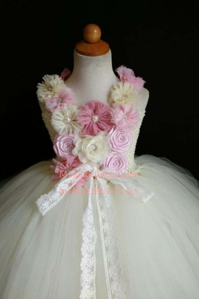 Dirty Pink and Ivory Flower Girl Dress Tulle Dress Wedding Dress Toddler Dress Magictullecouture