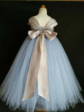Blue and Grey Flower Girl Tutu Dress for Weddings and Birthday Photoshoot, Toddler Tutu Dress, Magictullecouture