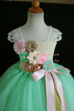 Mint Pink and Gold Flower Girl Tutu Dress for Weddings and Birthday Photoshoot, Toddler Tutu Dress, Magictullecouture