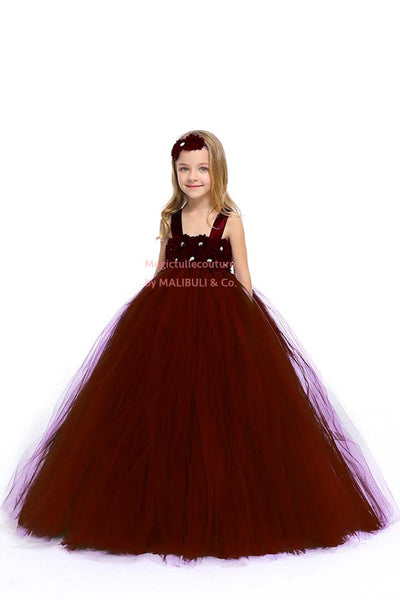 Burgundy Flower Girl Tutu Dress with Matching Headpiece and Slip MagicTulleCouture