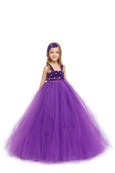 Purple Flower Girl Tutu Dress with Matching Headpiece and Slip MagicTulleCouture