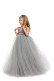 Grey Flower Girl Tutu Dress with Matching Headpiece and Slip MagicTulleCouture