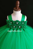 Emerald Flower Girl Tutu Dress for Weddings and Birthday Photoshoot, Toddler Tutu Dress, Magictullecouture