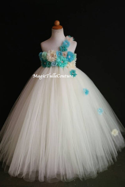 a530b1cd5 Blue Teal Mint-Ocean Beach Wedding Flower Girl Dress-Color can be  customized-