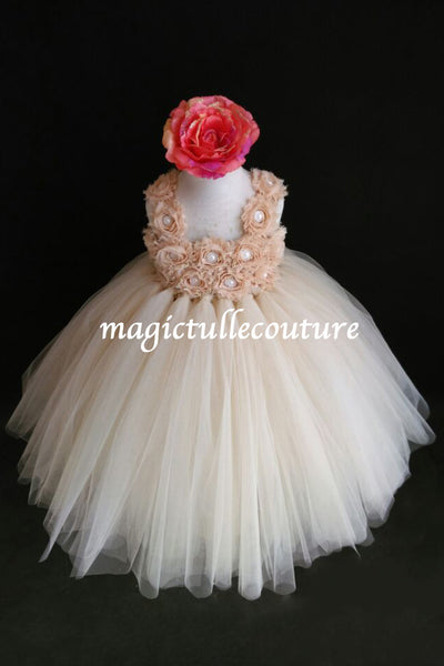 Champagne Flower Girl Tutu Dress Flower Straps-Wedding Dress Pageant Dress Toddler Dress Tulle Dress
