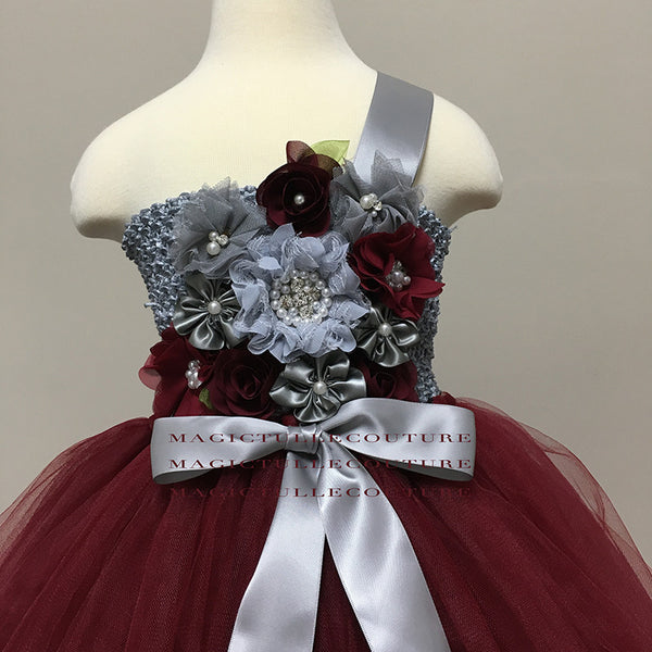 burgundy and grey flower girl dress color can be customized tulle