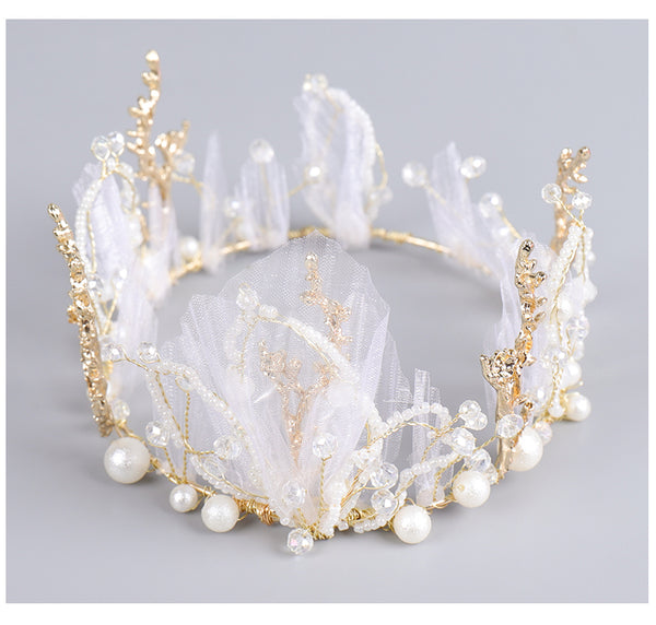 Girls Beads and Tulle Tiara for Birthday and Wedding