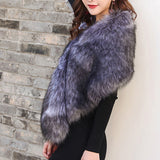 Bridal Shawl Fur Cape Stole for Autuam and Winter Wedding Party Champagne Grey Black