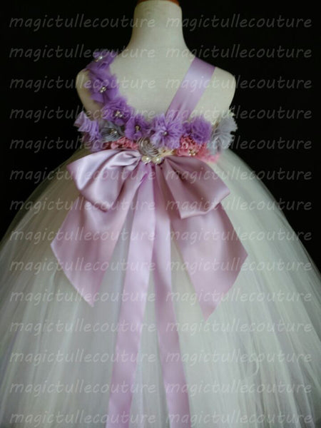 6155e8586fb ... Purple and Grey Flower Girl Dress-Color can be customized- Tulle Dress  Wedding Dress ...