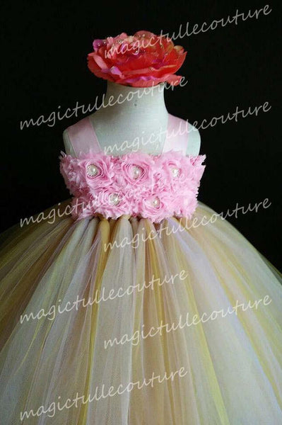Pink and Gold Flower Girl Tutu Dress for Weddings and Birthday Photoshoot, Toddler Tutu Dress, Magictullecouture