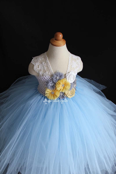Yellow Grey and Blue Flower Girl Tutu Dress for Weddings and Birthday Photoshoot, Lace Straps, Toddler Tutu Dress, Magictullecouture