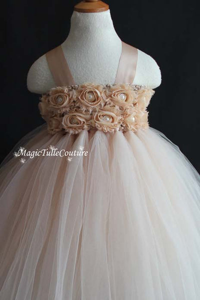 Champagne Flower Girl Tutu Dress Wedding Dress Birthday Dress Toddler Dress Tulle Dress