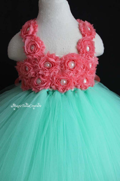 Mint and Coral Flower Girl Tutu Dress for Weddings and Birthday Photoshoot, Toddler Tutu Dress, Magictullecouture