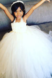 Ivory Flower Girl Tutu Dress 3 Rows Flowers-Wedding Dress Pageant Dress Toddler Dress Tulle Dress