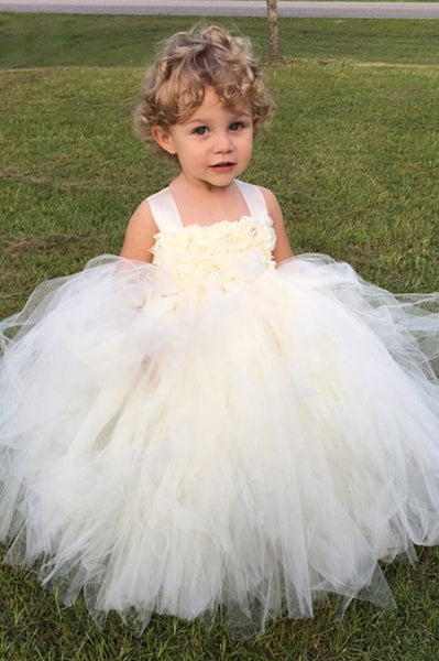 Ivory Flower Girl Tutu Dress-with matching headpiece-Satin Straps ...