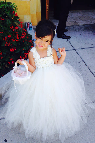 Ivory Flower Girl Tutu Dress-Flower Straps-Wedding Dress Pageant Dress Toddler Dress Tulle Dress